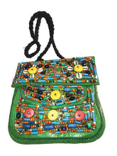 Load image into Gallery viewer, Moroccan Berber Beaded Leather Purse - Green Large Bags & Purses
