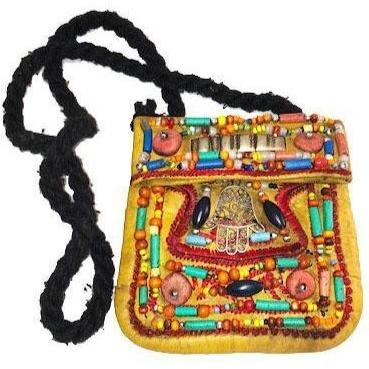 Moroccan Berber Beaded Leather Purse - Hamsa Tan Small Bags & Purses