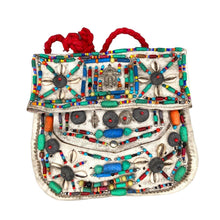 Load image into Gallery viewer, Moroccan Berber Beaded Leather Purse - White Hamsa Large Bags & Purses