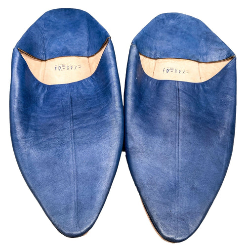 Moroccan Berber Leather Babouche Slippers - Adult Blue ShoesSize 45 (US Men's 10.5)