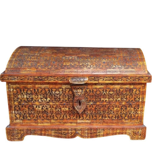 Moroccan Berber Storage Chest - Hand-Carved Bone Home Decor