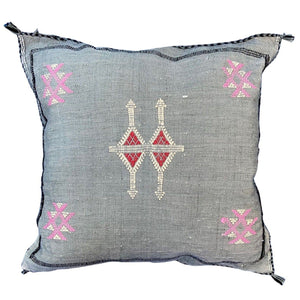 "Moroccan Cactus Silk Throw Pillow - Grey Blue 16"" Square"