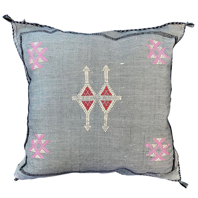 Moroccan Cactus Silk Throw Pillow - Grey Blue 16