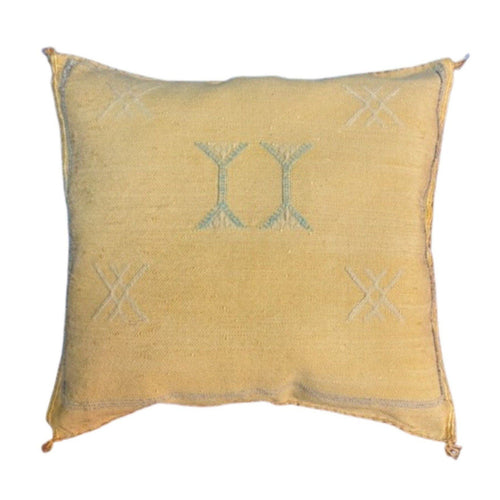 Moroccan Cactus Silk Throw Pillow - Light Yellow 16in Square Home Decor