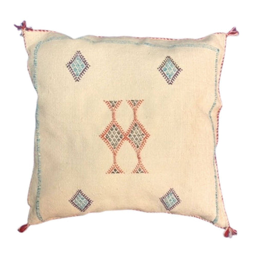 Moroccan Cactus Silk Throw Pillow - Natural White 16in Square Home Decor