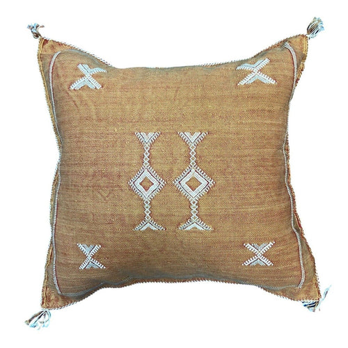 Moroccan Cactus Silk Throw Pillow - Rusty Orange 16in Square Home Decor