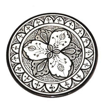"Load image into Gallery viewer, Moroccan Ceramic Dinner Plate - 10"" Handpainted Black & White Tableware"