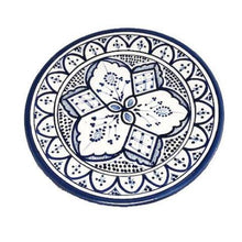 "Load image into Gallery viewer, Moroccan Ceramic Dinner Plate - 10"" Handpainted Blue Tableware"