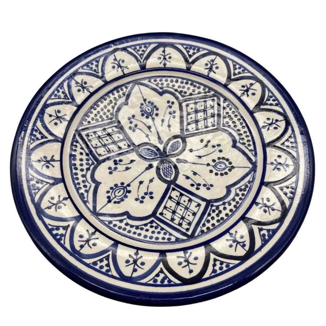 "Moroccan Ceramic Salad Plate - 8.5"" Handpainted Blue Tableware"
