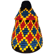 Moroccan Coil Basket - Red, Yellow, Blue with Lid