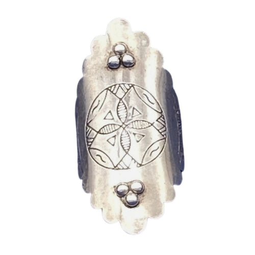 Moroccan Engraved Sterling Silver Beaded Shield Ring - Size 10 Rings