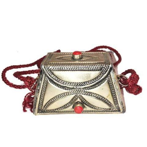 Moroccan Etched Silver Purse - Coral Bags & Purses