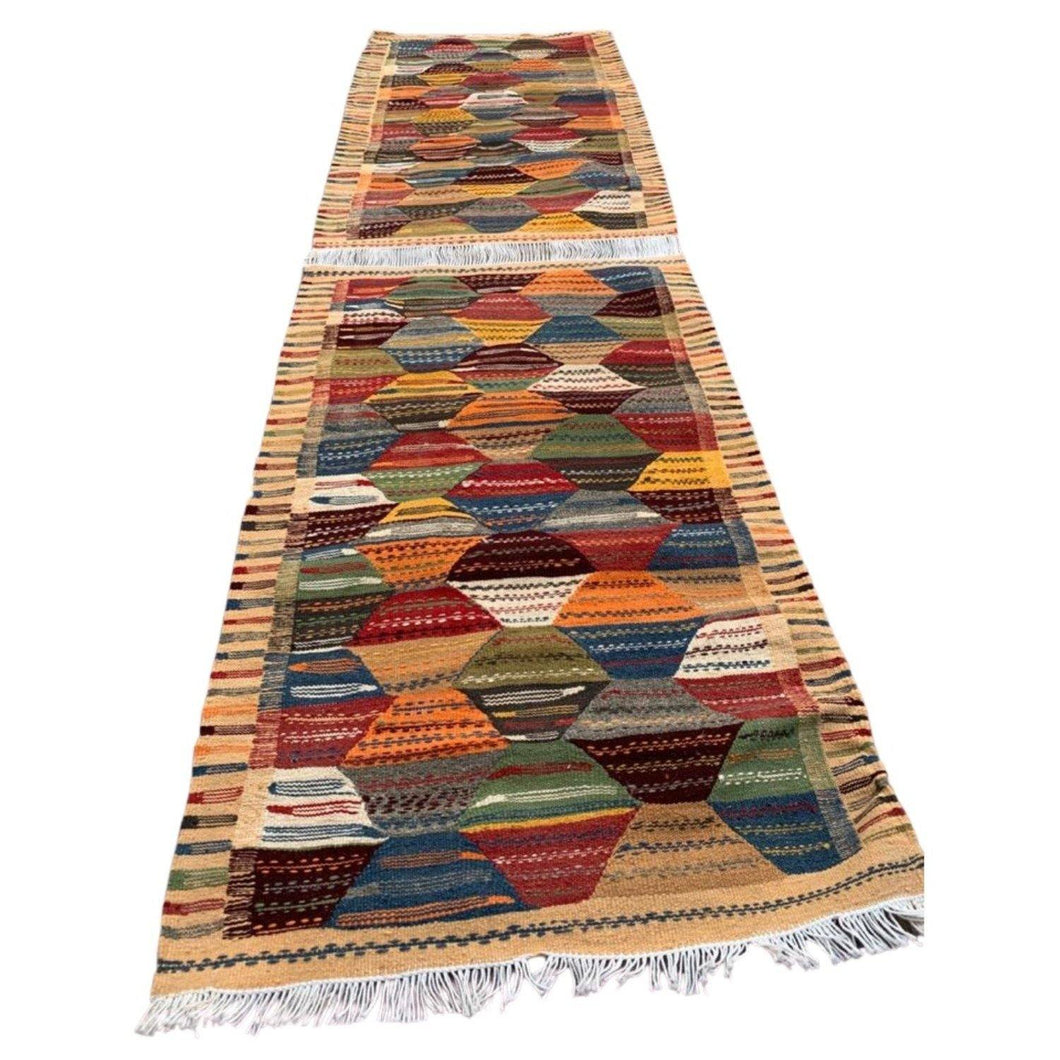 Moroccan Flatweave Wool Golaoui Rug - Double Rug Runner Home Decor