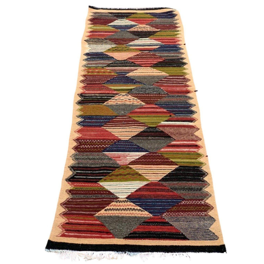 Moroccan Flatweave Wool Golaoui Throw Rug - 2ft x 3ft Sacred Path Home Decor