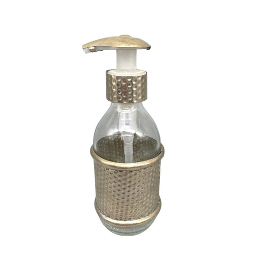 Moroccan Glass Soap Bottle with Pump - Hammered Metal Decoration Home DecorSilver