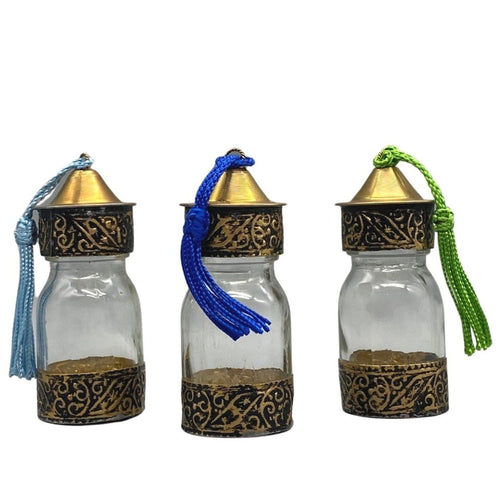 Moroccan Glass Spice Bottle With Embossed Gold Metal Home Decor