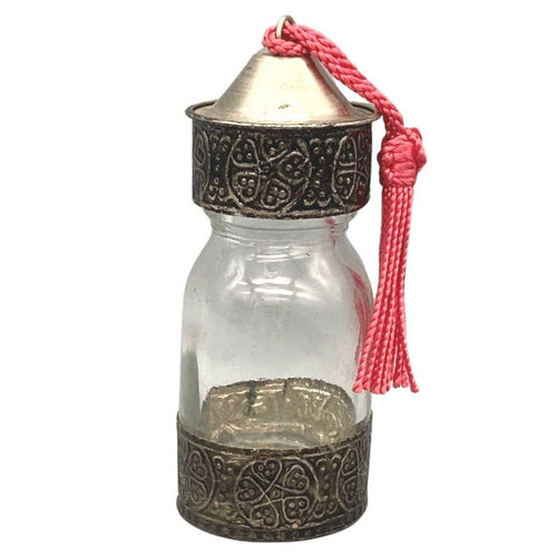 Moroccan Glass Spice Bottle With Embossed Silver Metal Home Decor