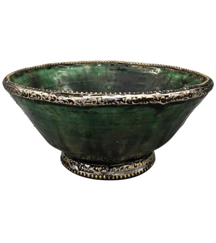 Moroccan Green Tamegroute Pottery Bowl With Metal Rims Tableware
