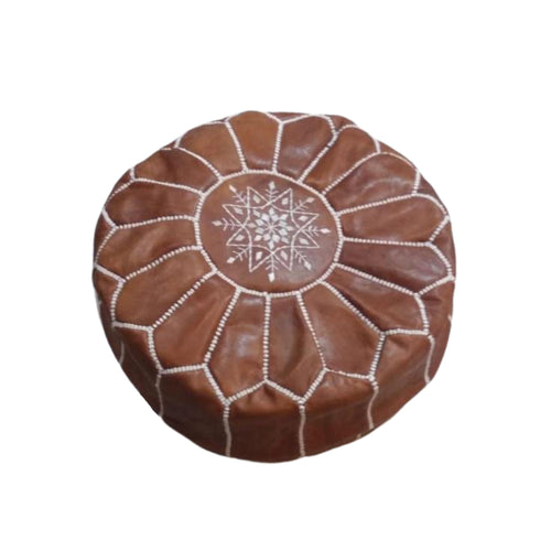 Moroccan Leather Pouf Footstool - Various Colors pillowBrown w/White Piping
