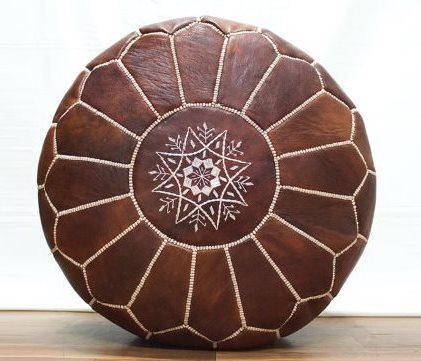 Moroccan Leather Pouf - Round Brown Home Decor