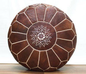 Moroccan Leather Pouf - Round Brown