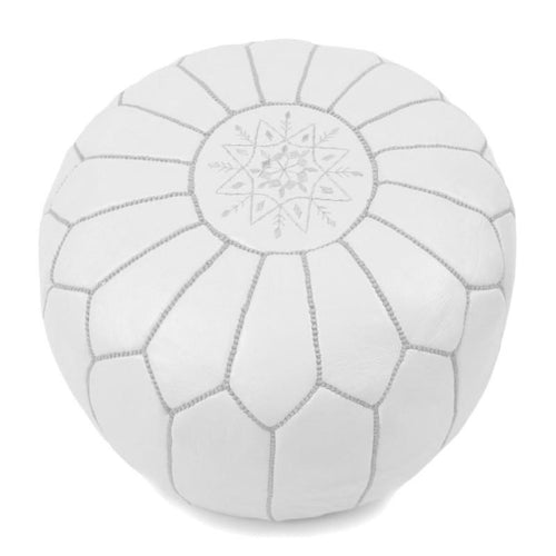 Moroccan Leather Pouf - Round White Home Decor