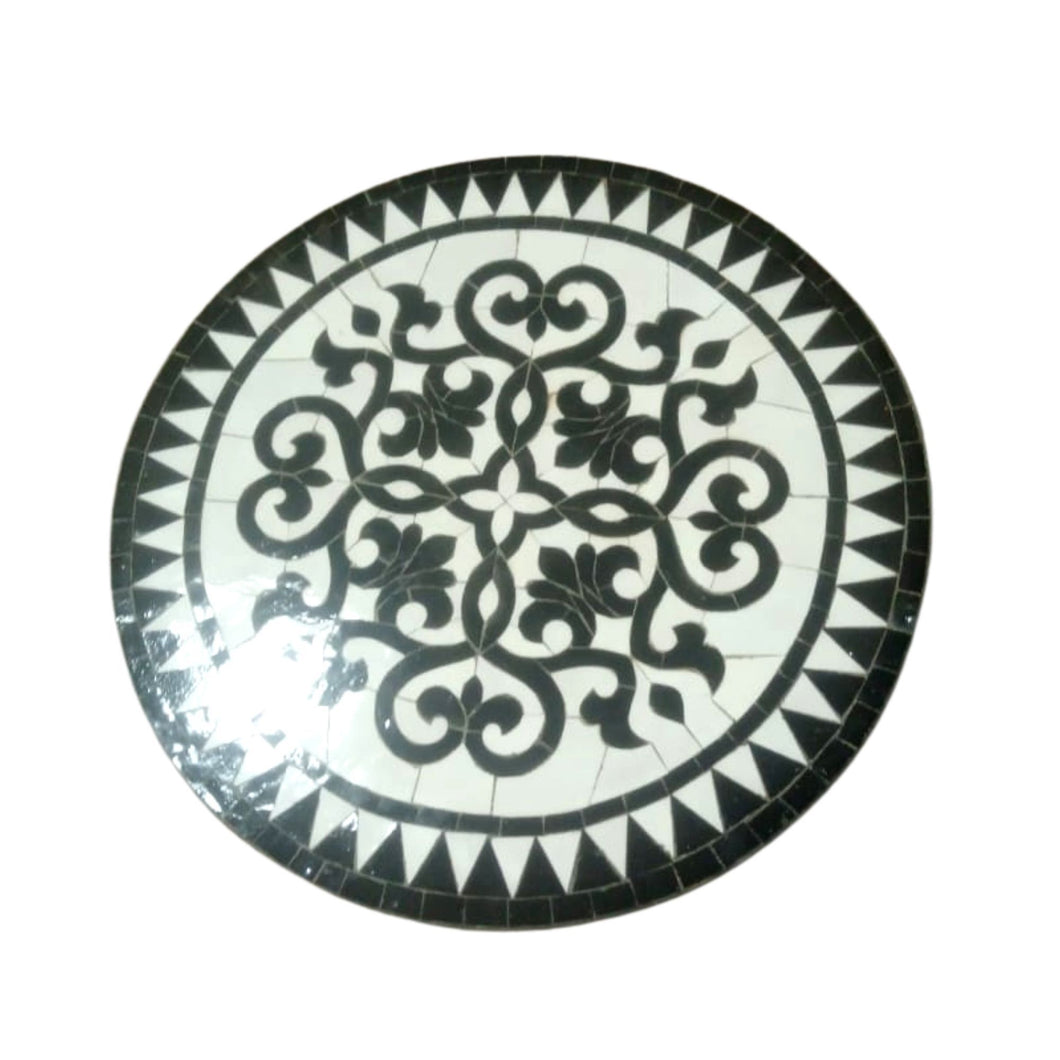 Moroccan Mosaic Tile Table - Black & White Scrollwork Round Zellige Furniture