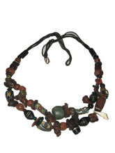 Moroccan Necklace Coral Ebony Amber Resin Silver - In Repair