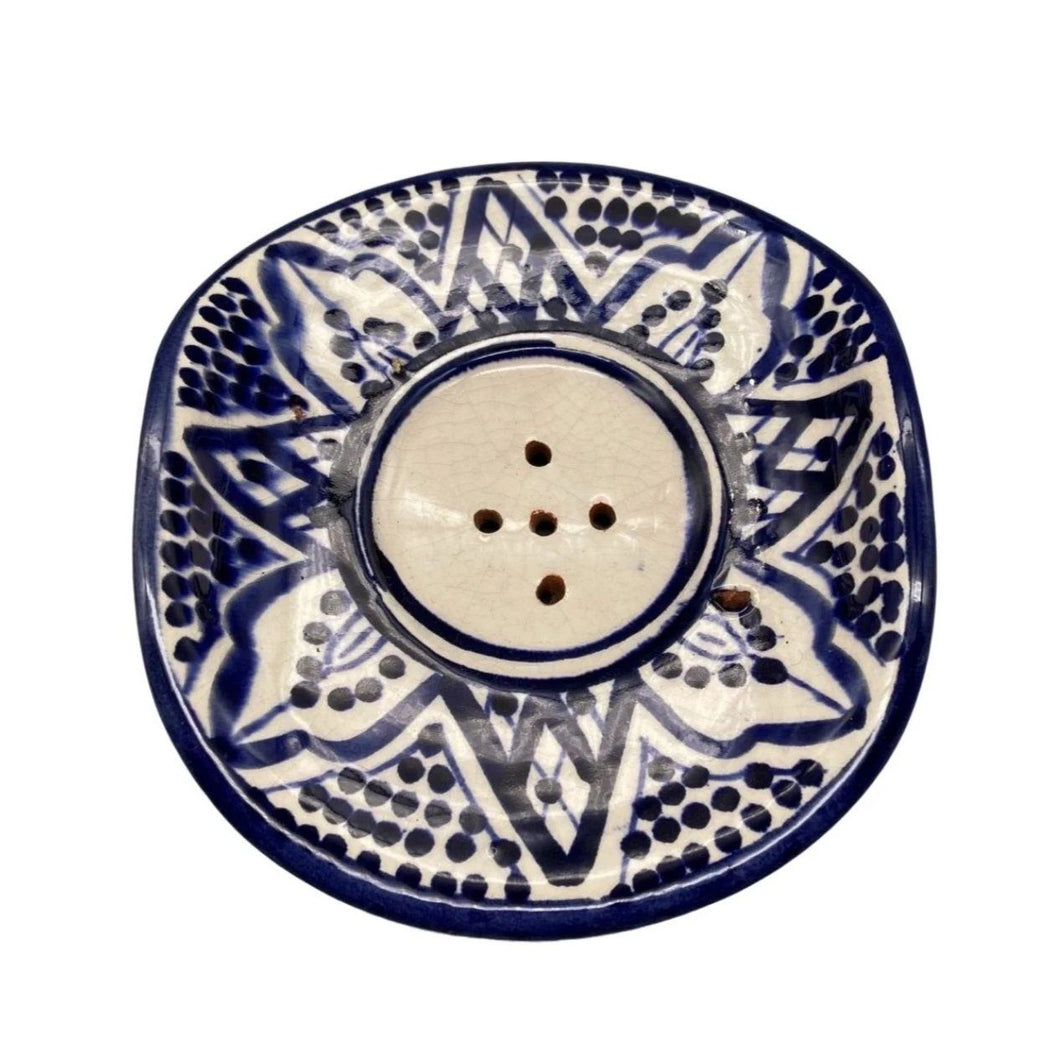 Moroccan Pottery - Handpainted Blue & White Soap Dish Dinnerware