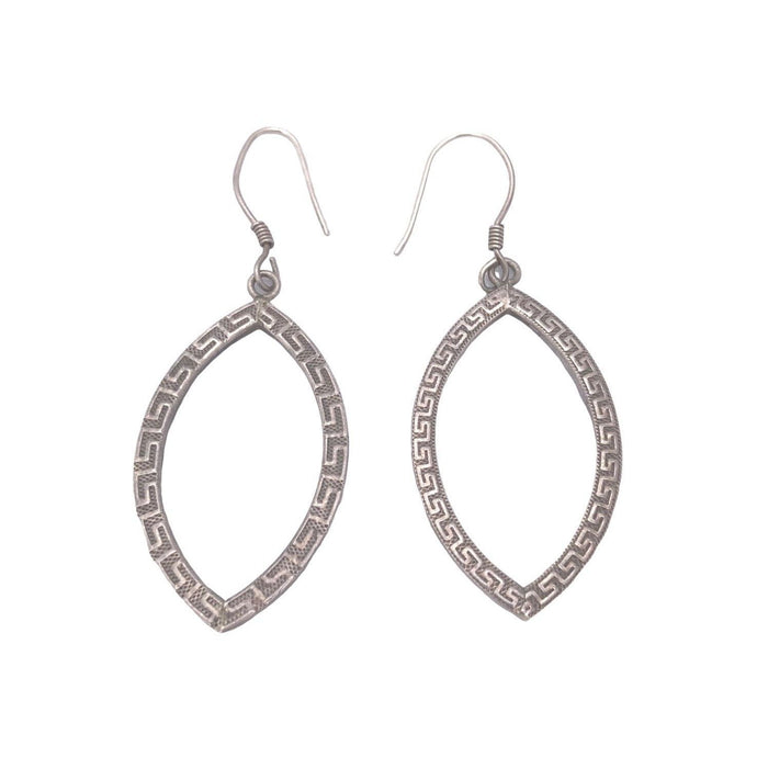 Moroccan Silver Almond Drop Earrings Earrings