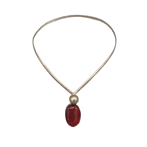 Moroccan Silver Choker Necklace with Large Red Orange Amber Copal Stone Necklace