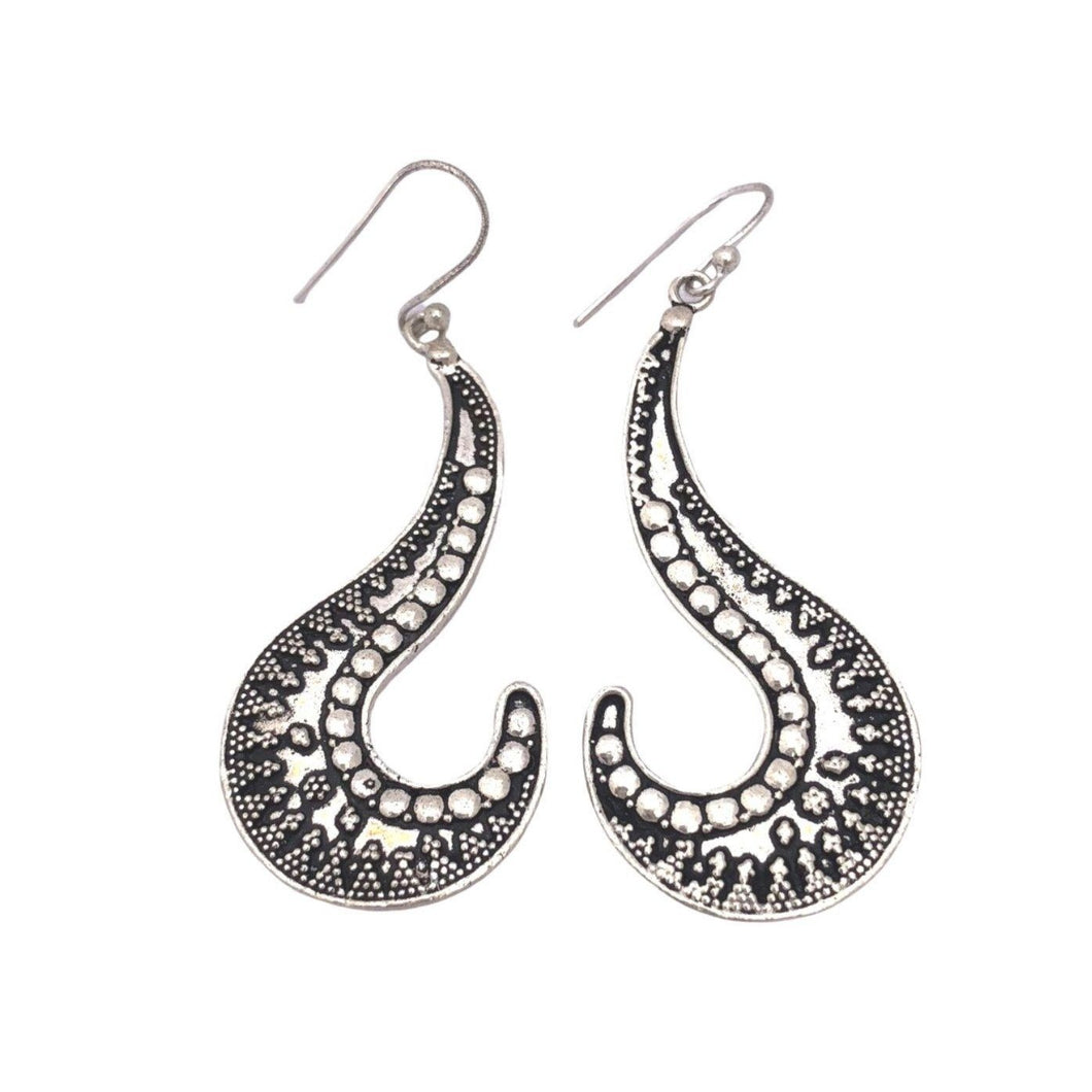 Moroccan Silver Curl Drop Earrings Earrings