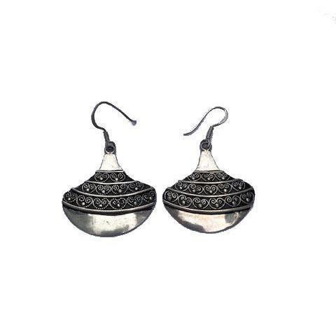 Moroccan Silver Fan Drop Earrings Earrings