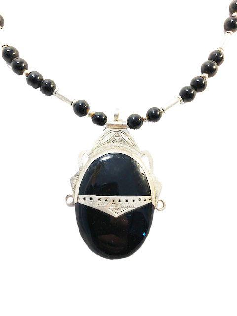 Moroccan Silver Tuareg Onyx Pendant Necklace Necklace