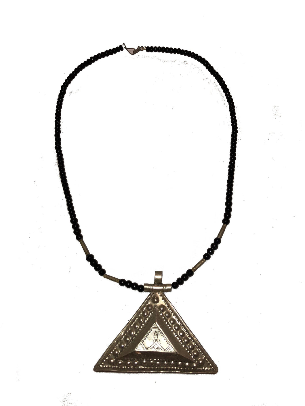 Moroccan Silver Tuareg Triangle Pendant Necklace Necklace