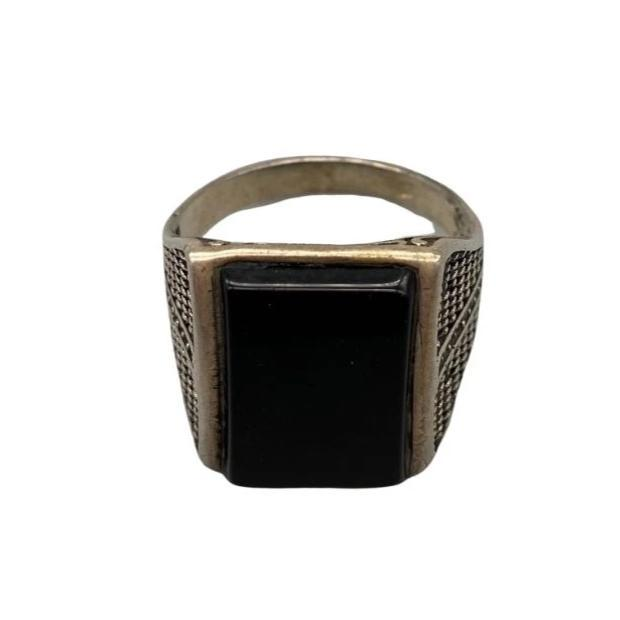 Moroccan Sterling Silver Men's Ring - Rectangle Onyx Size 12.5 Rings
