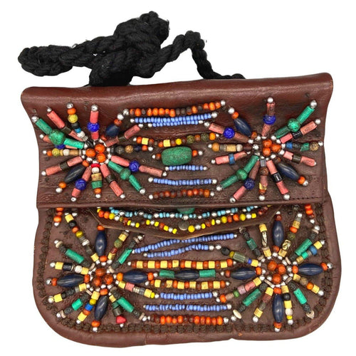 Moroccan Vintage Beaded Brown Tooled Leather Purse - Starburst Beads, Hamsa Fatima Hand - Large Bags & Purses