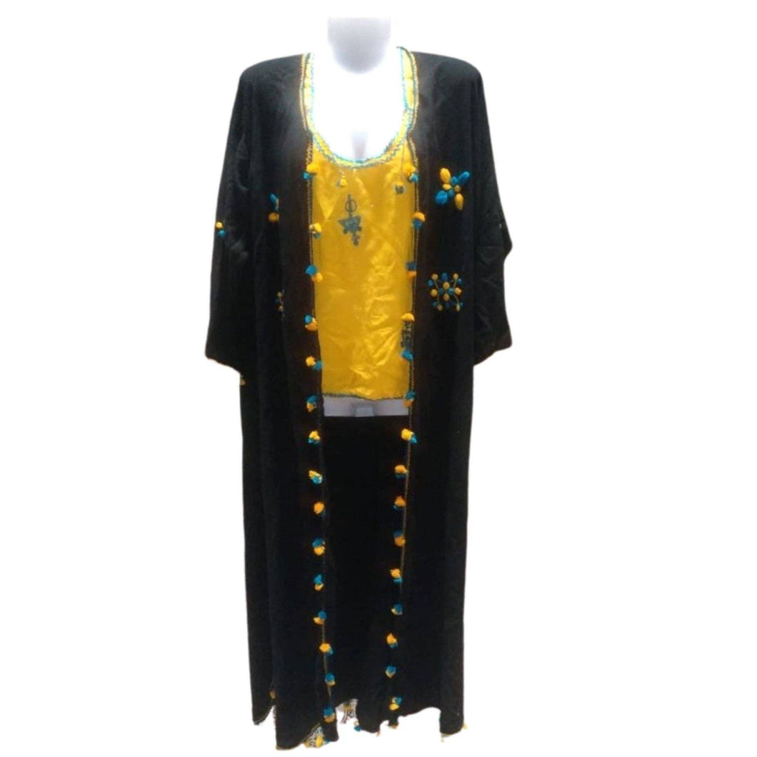 Moroccan Women's Black Lightweight Kaftan Duster - Hand-Embroidered with Pompoms S/M Kaftans