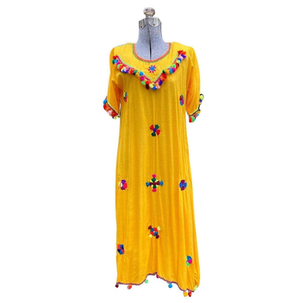 Moroccan Women's Lightweight Cotton Kaftan Dress - Yellow Hand-Embroidered with Pompoms Small Kaftans