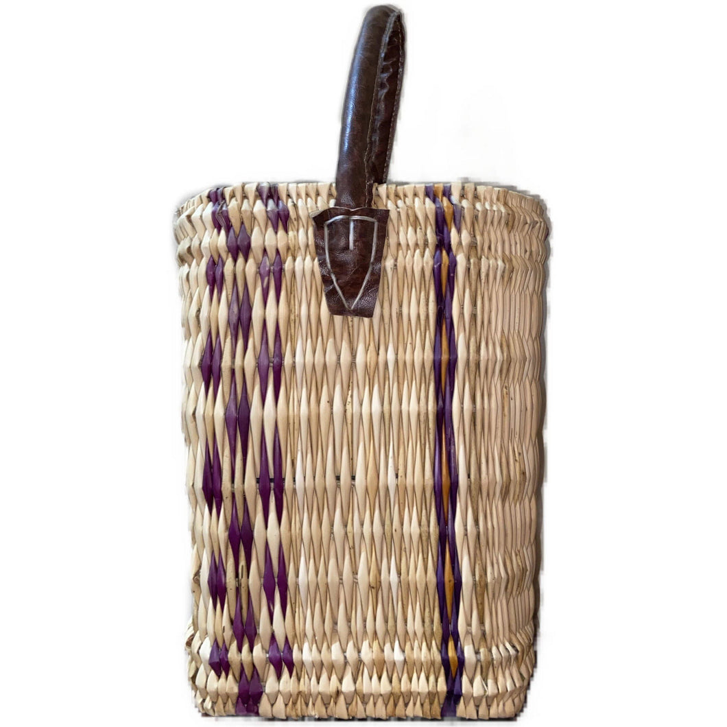 Moroccan Woven Reed Basket Bag - Medium Bags & Purses