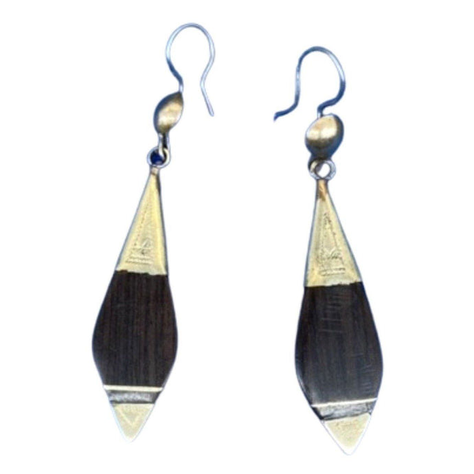 Polished Ebony Wood & Hammered Silver Tuareg Drop Earrings Earrings