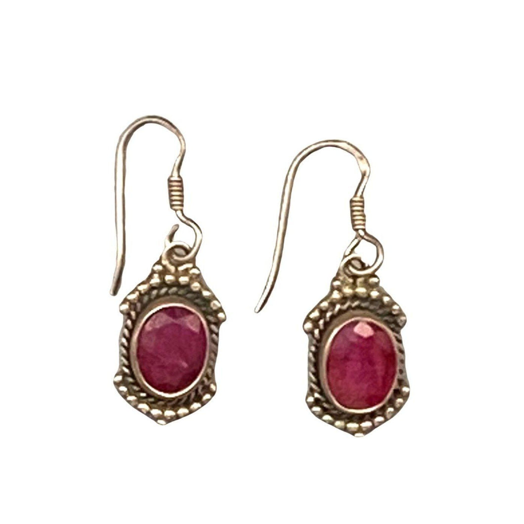 Ruby & Silver Moroccan Earrings Earrings