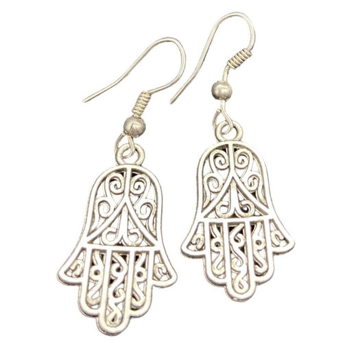 Scrollwork Silver Hamsa Hand Earrings Jewelry
