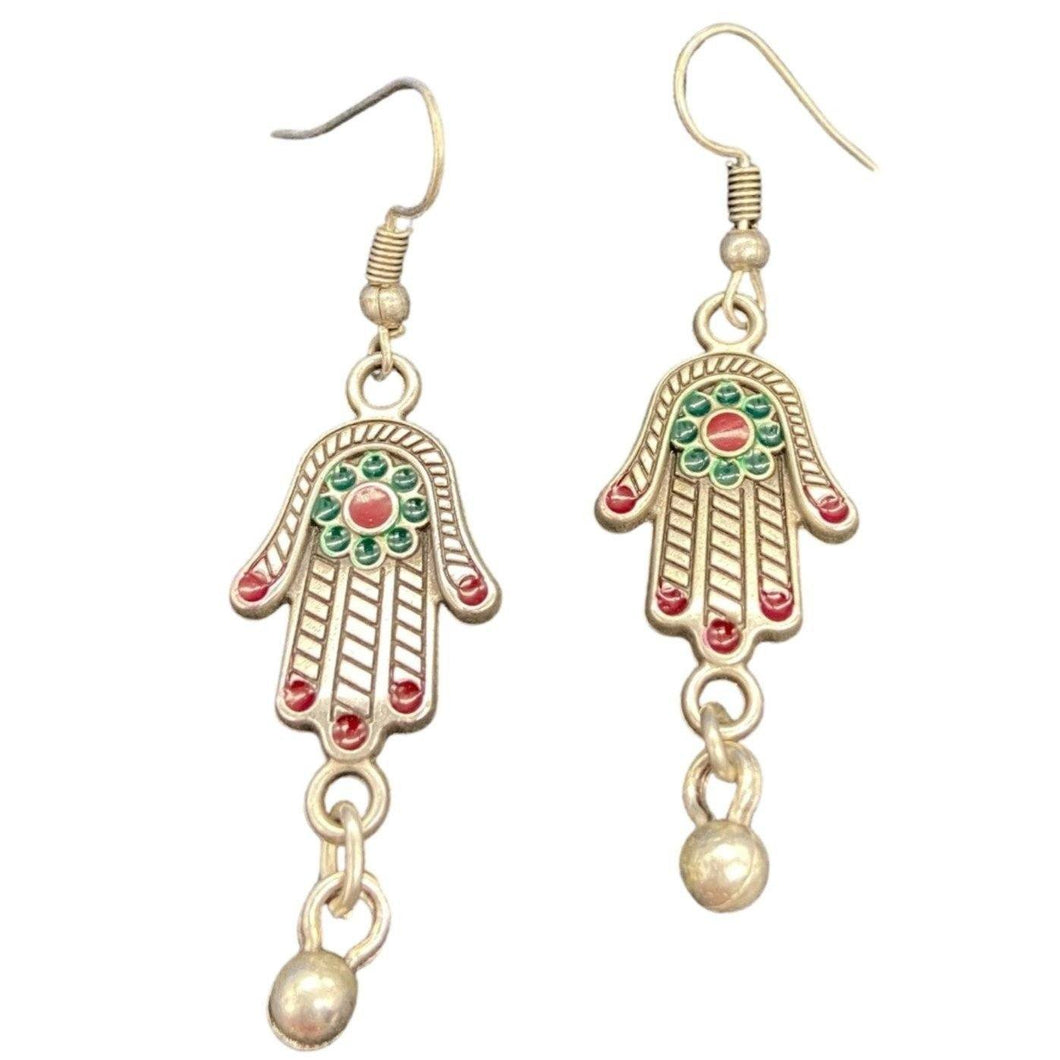 Silver Hamsa Hand Earrings with Enamel Jewelry