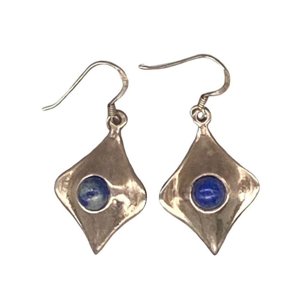 Silver & Lapis Diamond Moroccan Earrings Earrings