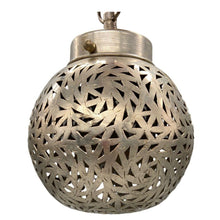 Load image into Gallery viewer, Silver Moroccan Round Hanging Pendant Light - Geometric Hand-Cut Metal Home Decor