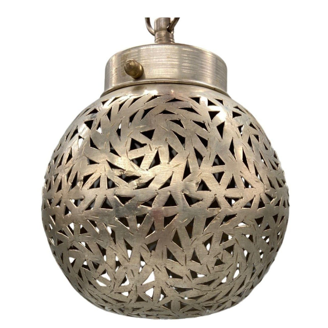 Silver Moroccan Round Hanging Pendant Light - Geometric Hand-Cut Metal Home Decor