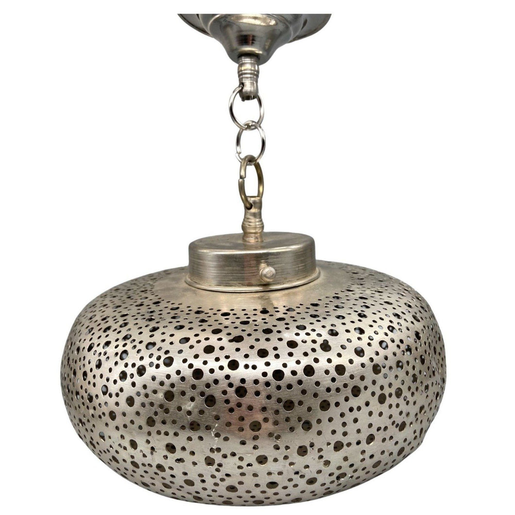 Silver Moroccan Wide Round Hanging Pendant Light - Hand-Cut Metal Home Decor