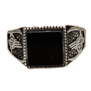 Silver & Onyx Square Moroccan Men's Arabic Ring Size 11