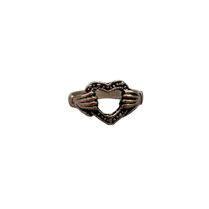 Simple Burnished Silver Moroccan Ring - Hands Holding Heart Claddagh Friendship - Size 5.5 Rings